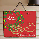 Personalized Christmas Wreath Welcome Plaque
