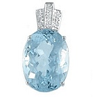15ct Aquamarine & Diamond Pendant in 18k White Gold