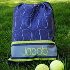 Boy's Personalized Tennis Print Drawstring Tote