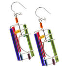 Multi-Colored Architectural Wire & Glass Tube Earrings