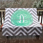 Personalized Family Name Silver Chevron Print Fleece Throw