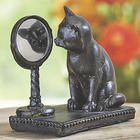 Curious Cat with Mirror Statue
