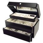 Ladies Java Wood Jewelry Box with Mirrored Lid