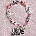 Personalized Pink Ribbon Antique Heart Bracelet
