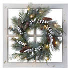 Frosted Christmas Wreath on Distressed Window Frame
