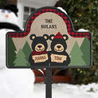 Personalized Black Bear Family Garden Stake