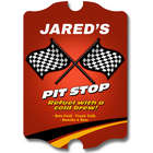 Pit Stop Refuel Personalized Wood Bar Sign