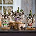 Wooden and Metal Halloween Pumpkin Decor with LED Light
