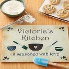 Personalized Seasoned with Love Glass Cutting Board