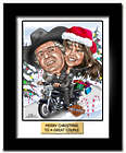 Couple On a Harley Christmas Caricature Art Print