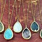 Gemstone Wrap Teardrop Pendant Necklace