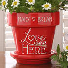 Love Grows Here Red Flower Pot