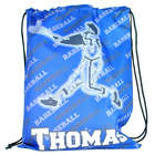 Personalized Baseball Player Print Drawstring Tote