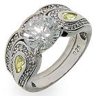 Heirloom Silver and Cubic Zirconia Engagment Ring Set
