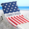 Personalized Red, White, and Blue All-American Beach Towel