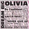 "Dream Big Children's Personalized 14"" Pink Canvas Print"