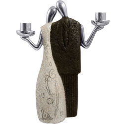 Best Friends Stone and Pewter Shabbat Candlestick