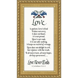 Love is Patient Beaded Florentine Gold Framed Print