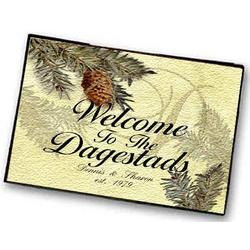 Personalized Pinecone Initial Welcome Mat