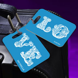 Personalized Love Connection Blue Luggage Tags
