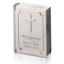 Confirmation Personalized Silver Bible Keepsake Box