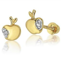 Disney 14K Gold Diamond Snow White Apple Baby Earrings