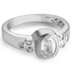 Sterling Silver Birthstone Ring with Cubic Zirconia Accents