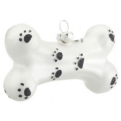 Paw Print Dog Bone Christmas Ornament