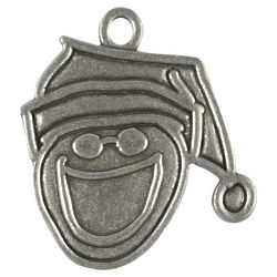 Smiley Face Santa Pewter Ornament