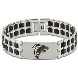 Men's Atlanta Falcons Stainless Steel and Rubber Bracelet