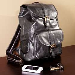 Rock My Way Black Leather Bookbag