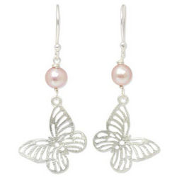 Butterfly Moons Cultured Pearls Dangle Earrings