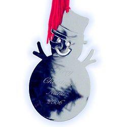 Personalized Silver Snowman Ornament