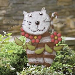 Cat with Flowers Metal Garden Stake