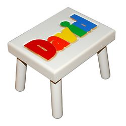 Kid's Personalized Name Puzzle Stool in White with Primary Colors