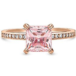 2ct Solitaire Swarovski Crystal Rose Gold Plated Engagement Ring