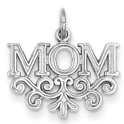 14K White Gold Paisley Mom Pendant