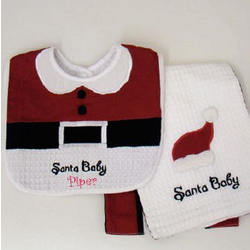 Personalized Santa Baby Bib and Burp Towel