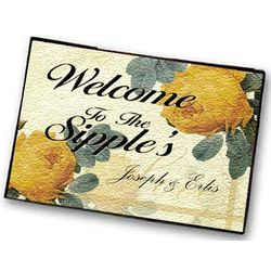 Personalized Yellow Roses Welcome Mat