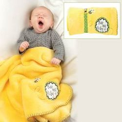 Bee Baby Blanket with Pacifier Clip