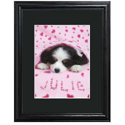 Personalized Cozy Puppy Framed Print