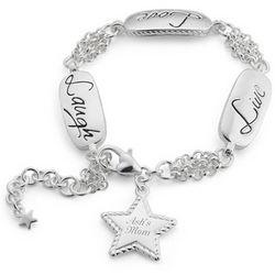 Live, Laugh, Love Silver Bracelet
