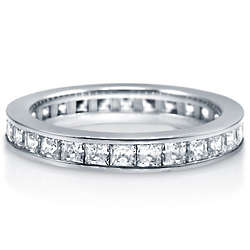 Princess Cubic Zirconia Sterling Silver Channel Set Eternity Band