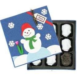 Box of Organic Snowmen Peanut Butter Crunch Dark Chocolates