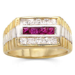Men's Gold Over Sterling Simulated Ruby and CZ Ring