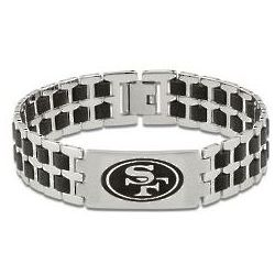 Men's San Francisco 49ers Stainless Steel and Rubber Bracelet