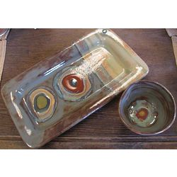 Steel Blue Organic Stripe Appetizer Tray and Bowl Set