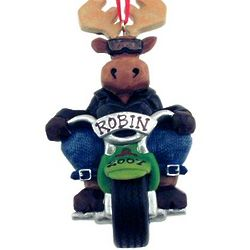Personalized Moose Motorcycle Christmas Ornament