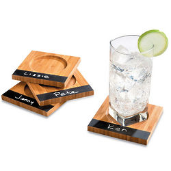 Chalkboard Bamboo Drink Coaster Set