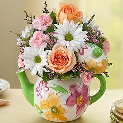 Teapot Full of Flower Blooms